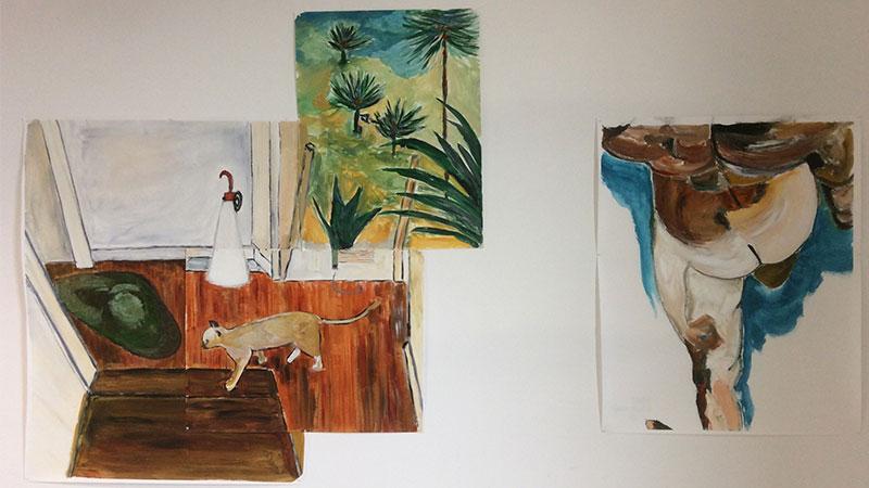 exposition à l'école d'art de Bayonne avec les peintures de Kolet Goyhenetche